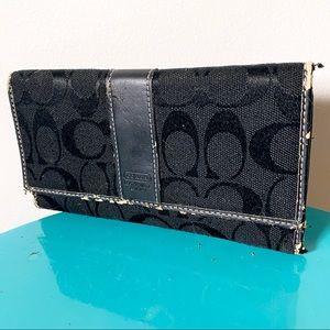 Coach Monogram Black Fabric Snap Close Wallet